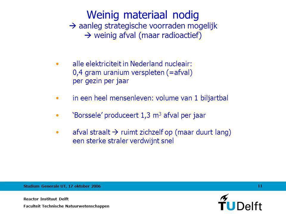 Reactor Instituut Delft Faculteit Technische Natuurwetenschappen 11 Studium Generale UT, 17 oktober 2006 Weinig materiaal nodig  aanleg strategische voorraden mogelijk  weinig afval (maar radioactief) alle elektriciteit in Nederland nucleair: 0,4 gram uranium verspleten (=afval) per gezin per jaar in een heel mensenleven: volume van 1 biljartbal 'Borssele' produceert 1,3 m 3 afval per jaar afval straalt  ruimt zichzelf op (maar duurt lang) een sterke straler verdwijnt snel
