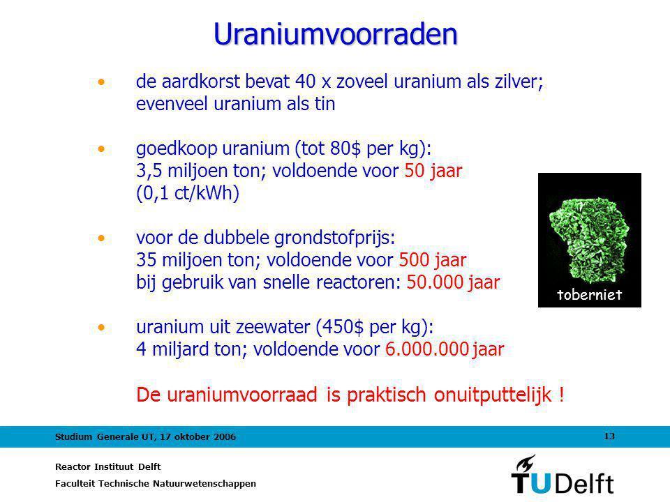 Reactor Instituut Delft Faculteit Technische Natuurwetenschappen 13 Studium Generale UT, 17 oktober 2006 de aardkorst bevat 40 x zoveel uranium als zi