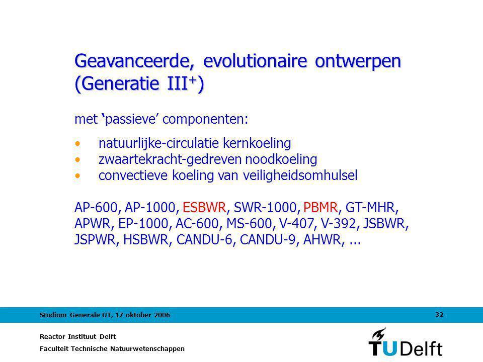 Reactor Instituut Delft Faculteit Technische Natuurwetenschappen 32 Studium Generale UT, 17 oktober 2006 Geavanceerde, evolutionaire ontwerpen (Generatie III + ) met 'passieve' componenten: natuurlijke-circulatie kernkoeling zwaartekracht-gedreven noodkoeling convectieve koeling van veiligheidsomhulsel AP-600, AP-1000, ESBWR, SWR-1000, PBMR, GT-MHR, APWR, EP-1000, AC-600, MS-600, V-407, V-392, JSBWR, JSPWR, HSBWR, CANDU-6, CANDU-9, AHWR,...