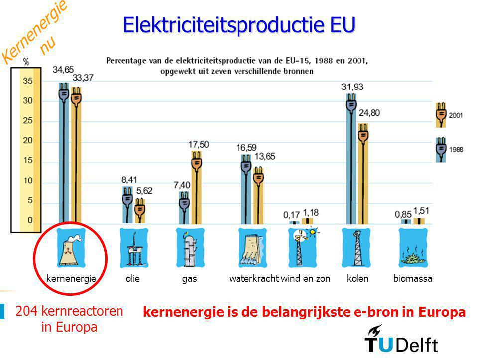 Reactor Instituut Delft Faculteit Technische Natuurwetenschappen 7 Studium Generale UT, 17 oktober 2006 Elektriciteitsproductie EU kernenergieoliegasw