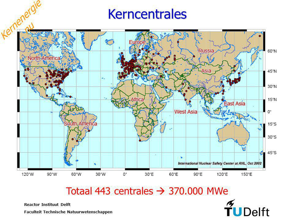 Reactor Instituut Delft Faculteit Technische Natuurwetenschappen 8 Studium Generale UT, 17 oktober 2006 Kerncentrales Kernenergie nu Totaal 443 centrales  370.000 MWe
