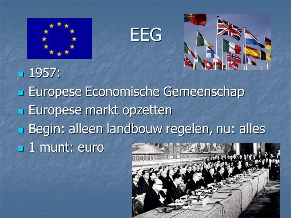 EEG 1957: 1957: Europese Economische Gemeenschap Europese Economische Gemeenschap Europese markt opzetten Europese markt opzetten Begin: alleen landbo