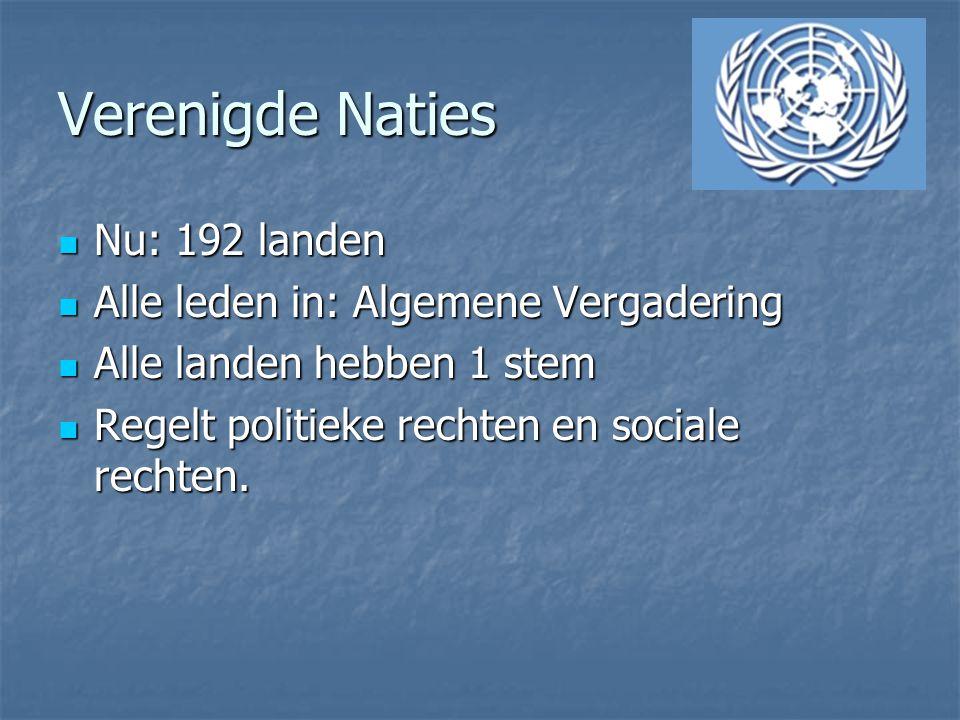Verenigde Naties Nu: 192 landen Nu: 192 landen Alle leden in: Algemene Vergadering Alle leden in: Algemene Vergadering Alle landen hebben 1 stem Alle