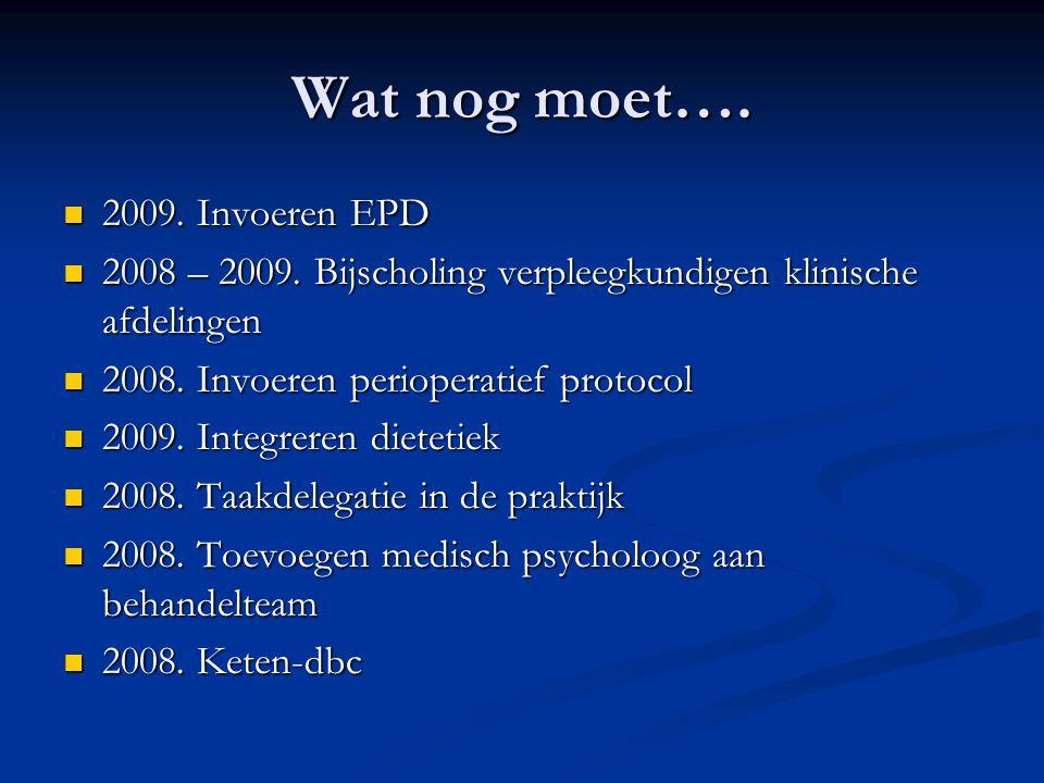 Wat nog moet…. 2009. Invoeren EPD 2009. Invoeren EPD 2008 – 2009. Bijscholing verpleegkundigen klinische afdelingen 2008 – 2009. Bijscholing verpleegk
