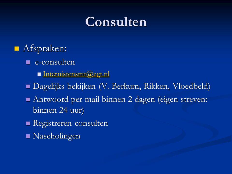 Consulten Afspraken: Afspraken: e-consulten e-consulten Internistensmt@zgt.nl Internistensmt@zgt.nl Internistensmt@zgt.nl Dagelijks bekijken (V. Berku