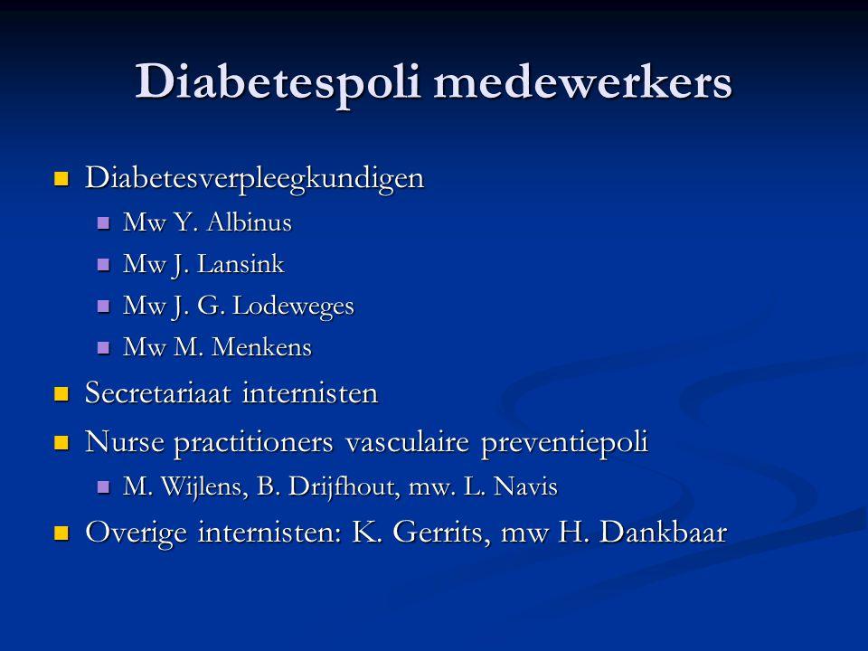 Getallen (2006) Aantal: 1498 Aantal: 1498 Aantal nieuwe: 220 Aantal nieuwe: 220 Controlebezoeken internist: 3572 Controlebezoeken internist: 3572 Bezoeken diabetesverpleegkundige: 3600 Bezoeken diabetesverpleegkundige: 3600 Diabetes bezoeken / totaal aantal bezoeken:18% Diabetes bezoeken / totaal aantal bezoeken:18% Herhaalfactor internisten: 2,5 Herhaalfactor internisten: 2,5 Type 1 / type 2 ???.