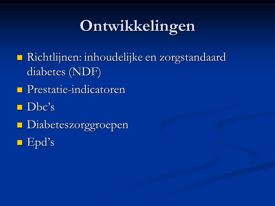 Ontwikkelingen Richtlijnen: inhoudelijke en zorgstandaard diabetes (NDF) Richtlijnen: inhoudelijke en zorgstandaard diabetes (NDF) Prestatie-indicator