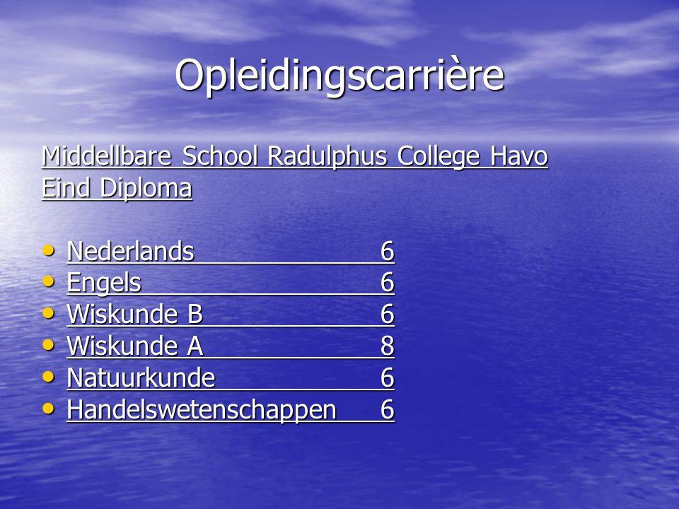 Opleidingscarrière Middellbare School Radulphus College Havo Eind Diploma Nederlands6 Nederlands6 Engels6 Engels6 Wiskunde B6 Wiskunde B6 Wiskunde A8 Wiskunde A8 Natuurkunde6 Natuurkunde6 Handelswetenschappen6 Handelswetenschappen6