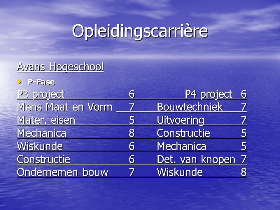 Opleidingscarrière Avans Hogeschool P-Fase P-Fase P3 project6P4 project6 Mens Maat en Vorm 7Bouwtechniek7 Mater.