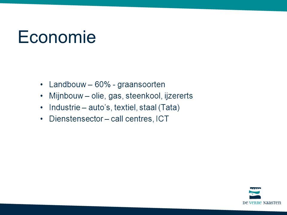 Economie Landbouw – 60% - graansoorten Mijnbouw – olie, gas, steenkool, ijzererts Industrie – auto's, textiel, staal (Tata) Dienstensector – call centres, ICT