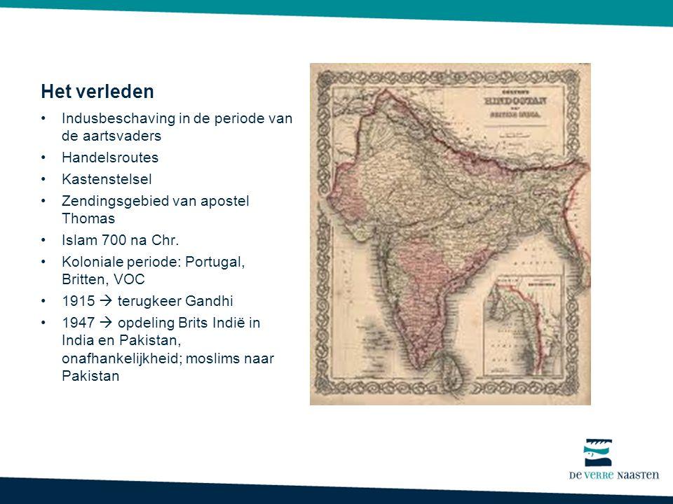 Het verleden Indusbeschaving in de periode van de aartsvaders Handelsroutes Kastenstelsel Zendingsgebied van apostel Thomas Islam 700 na Chr.