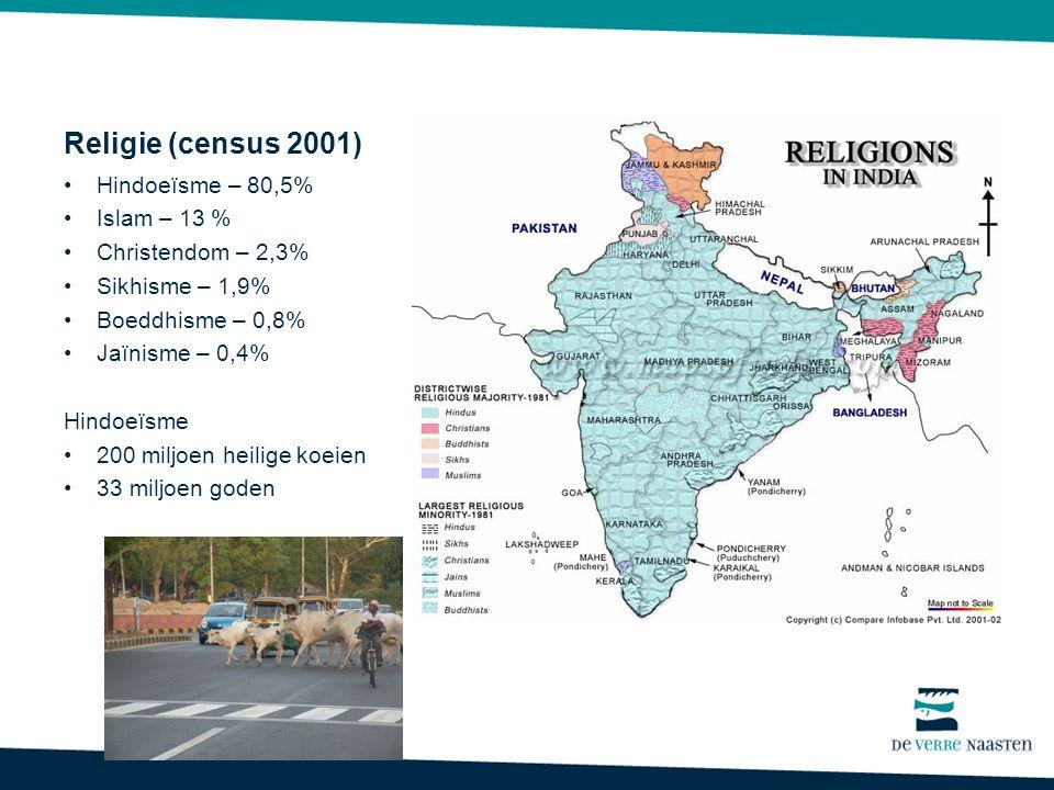 Religie (census 2001) Hindoeïsme – 80,5% Islam – 13 % Christendom – 2,3% Sikhisme – 1,9% Boeddhisme – 0,8% Jaïnisme – 0,4% Hindoeïsme 200 miljoen heilige koeien 33 miljoen goden