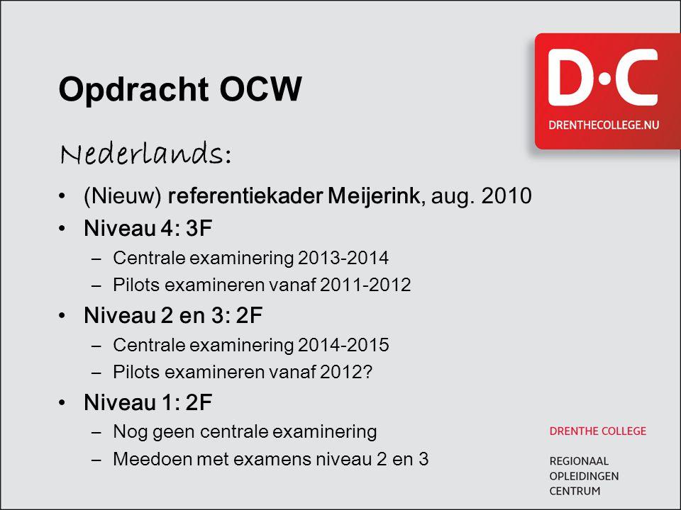 Opdracht OCW Nederlands: (Nieuw) referentiekader Meijerink, aug. 2010 Niveau 4: 3F –Centrale examinering 2013-2014 –Pilots examineren vanaf 2011-2012