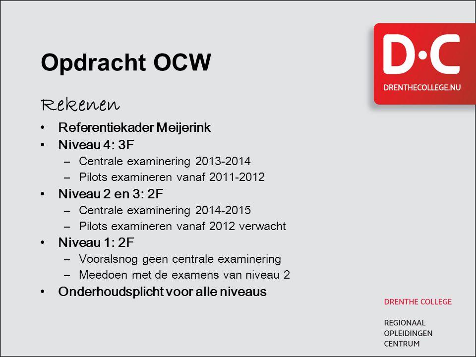 Opdracht OCW Rekenen Referentiekader Meijerink Niveau 4: 3F –Centrale examinering 2013-2014 –Pilots examineren vanaf 2011-2012 Niveau 2 en 3: 2F –Cent