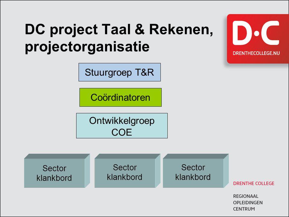 DC project Taal & Rekenen, projectorganisatie Stuurgroep T&R Coördinatoren Sector klankbord Sector klankbord Sector klankbord Ontwikkelgroep COE