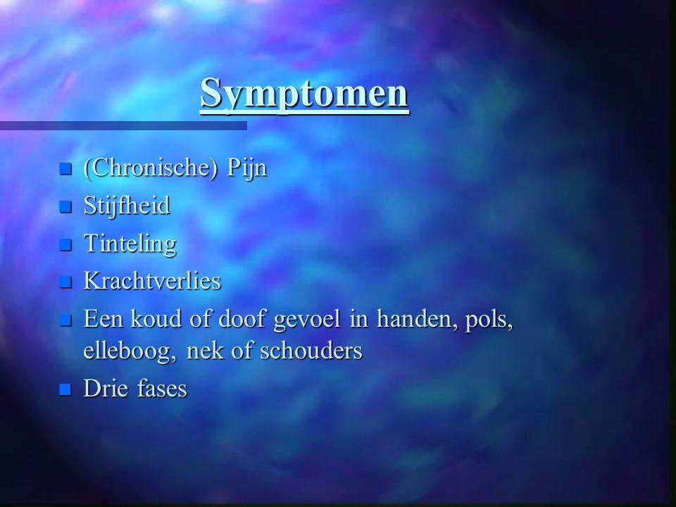Symptomen n (Chronische) Pijn n Stijfheid n Tinteling n Krachtverlies n Een koud of doof gevoel in handen, pols, elleboog, nek of schouders n Drie fases