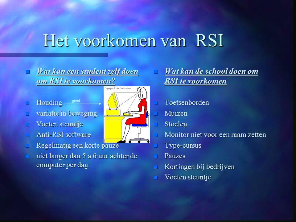Voorlichting over RSI n Reclame folders n Posters n Presentatie van leerlingen web-sites web-sites