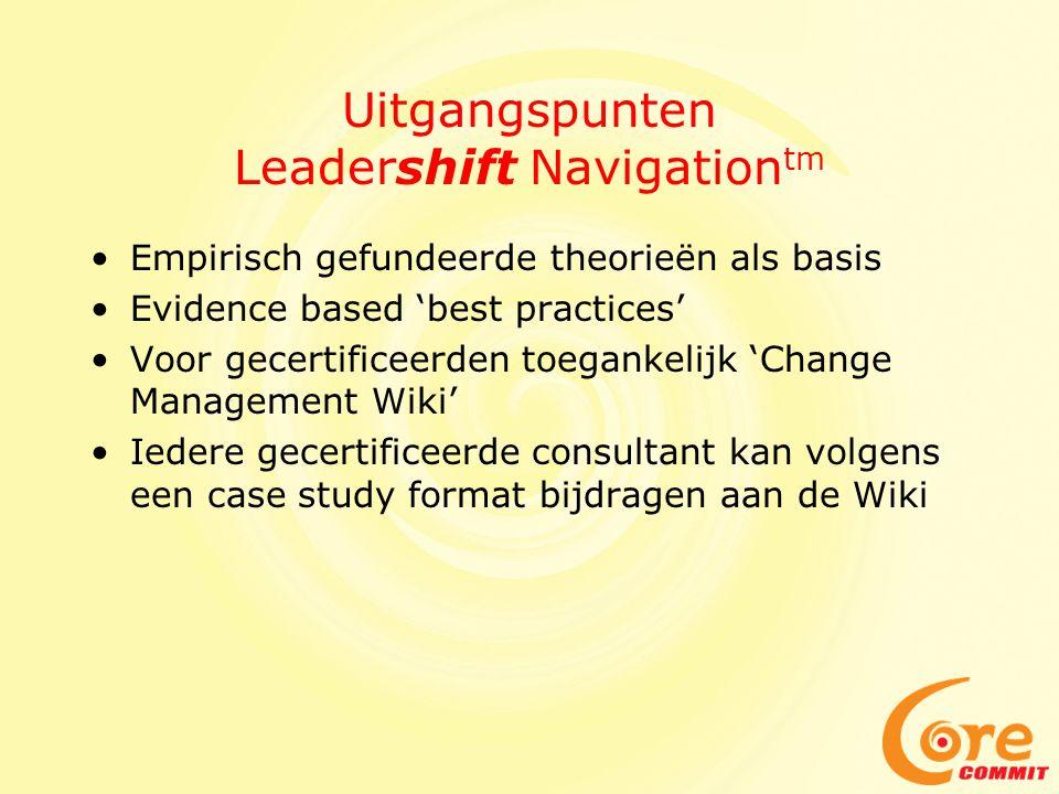 Uitgangspunten Leadershift Navigation tm Empirisch gefundeerde theorieën als basis Evidence based 'best practices' Voor gecertificeerden toegankelijk 'Change Management Wiki' Iedere gecertificeerde consultant kan volgens een case study format bijdragen aan de Wiki