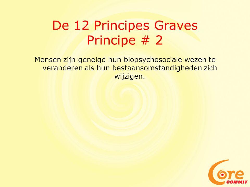 De 12 Principes Graves Principe # 2 Mensen zijn geneigd hun biopsychosociale wezen te veranderen als hun bestaansomstandigheden zich wijzigen.