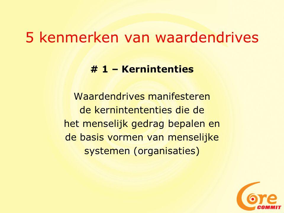 5 kenmerken van waardendrives # 1 – Kernintenties Waardendrives manifesteren de kernintententies die de het menselijk gedrag bepalen en de basis vormen van menselijke systemen (organisaties)