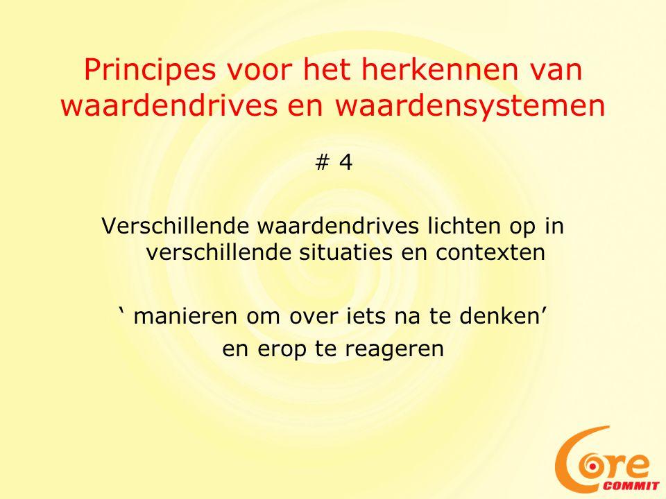 Principes voor het herkennen van waardendrives en waardensystemen # 4 Verschillende waardendrives lichten op in verschillende situaties en contexten '