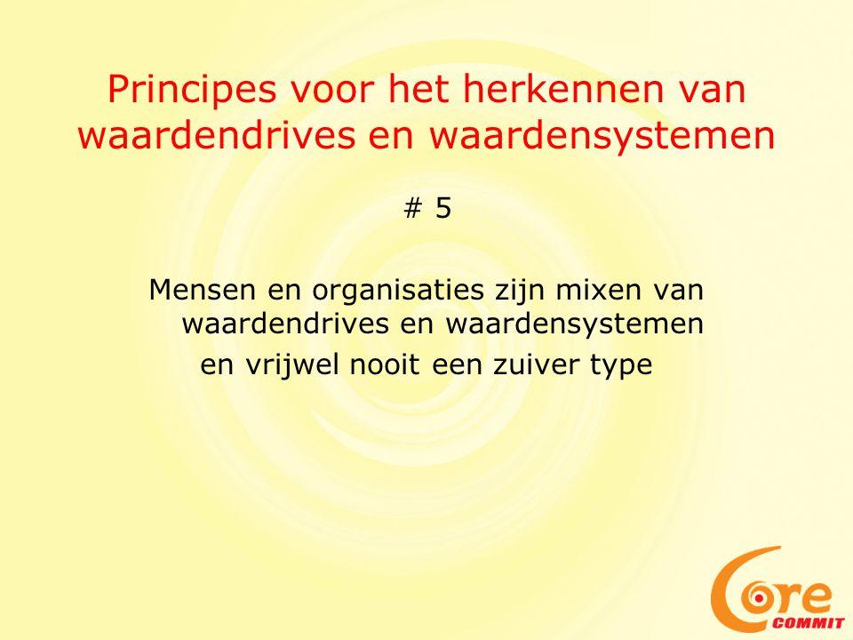 Principes voor het herkennen van waardendrives en waardensystemen # 5 Mensen en organisaties zijn mixen van waardendrives en waardensystemen en vrijwel nooit een zuiver type