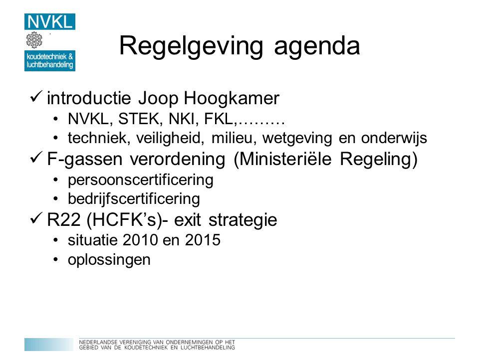 Regelgeving agenda introductie Joop Hoogkamer NVKL, STEK, NKI, FKL,……… techniek, veiligheid, milieu, wetgeving en onderwijs F-gassen verordening (Mini