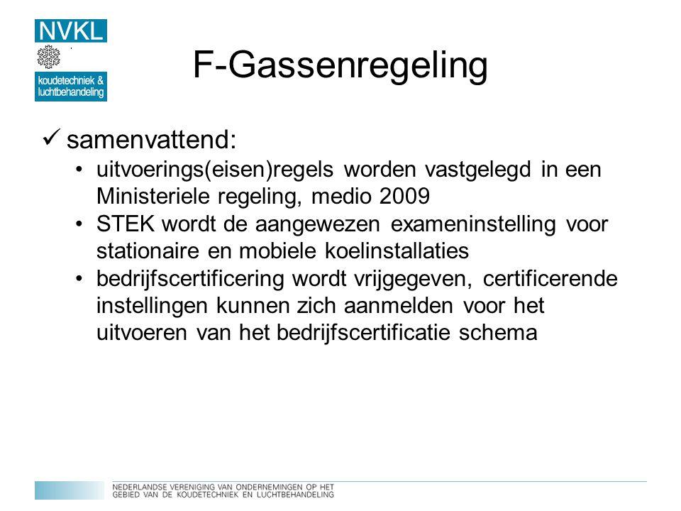 F-Gassenregeling samenvattend: uitvoerings(eisen)regels worden vastgelegd in een Ministeriele regeling, medio 2009 STEK wordt de aangewezen exameninst