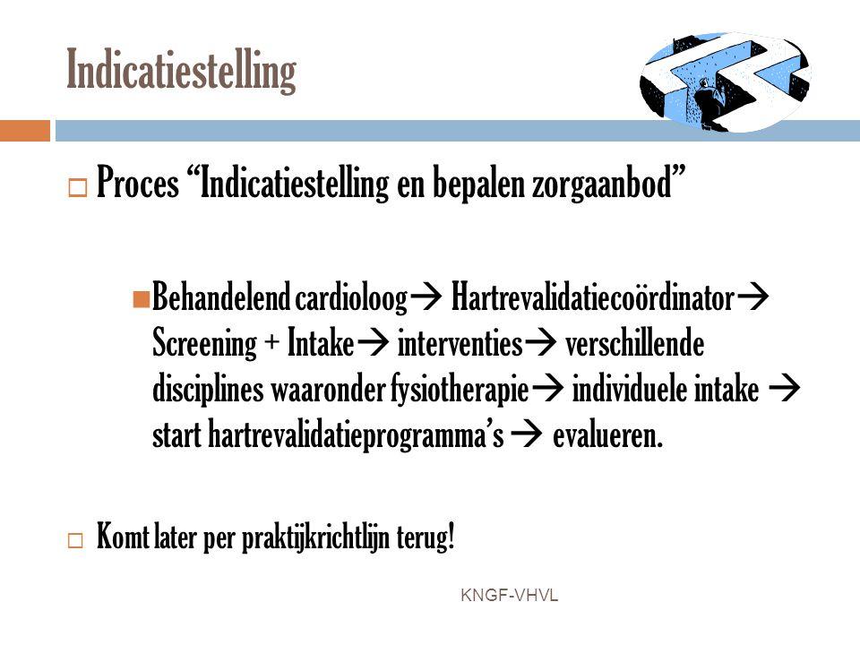 """Indicatiestelling  Proces """"Indicatiestelling en bepalen zorgaanbod"""" Behandelend cardioloog  Hartrevalidatiecoördinator  Screening + Intake  interv"""