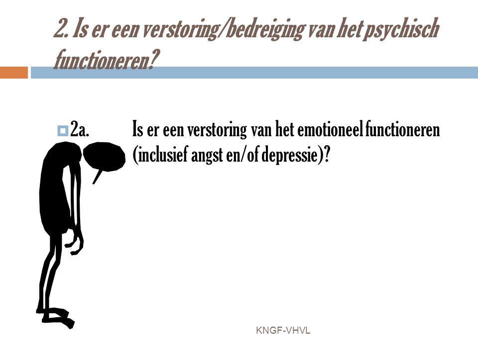 2. Is er een verstoring/bedreiging van het psychisch functioneren?  2a. Is er een verstoring van het emotioneel functioneren (inclusief angst en/of d