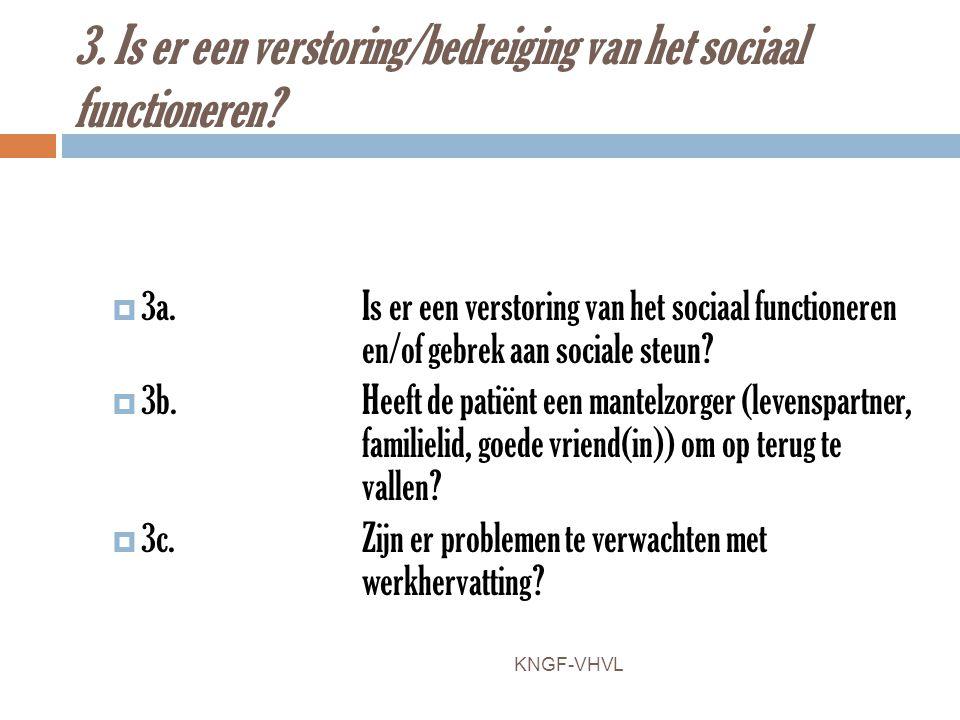 3. Is er een verstoring/bedreiging van het sociaal functioneren?  3a.Is er een verstoring van het sociaal functioneren en/of gebrek aan sociale steun