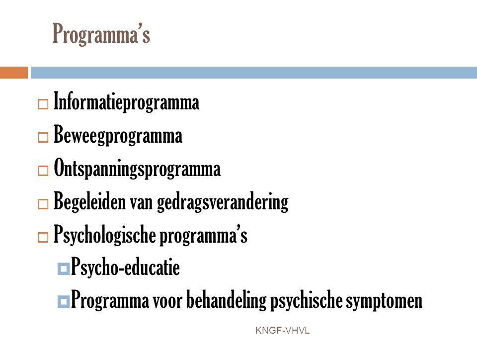 Programma's  Informatieprogramma  Beweegprogramma  Ontspanningsprogramma  Begeleiden van gedragsverandering  Psychologische programma's  Psycho-