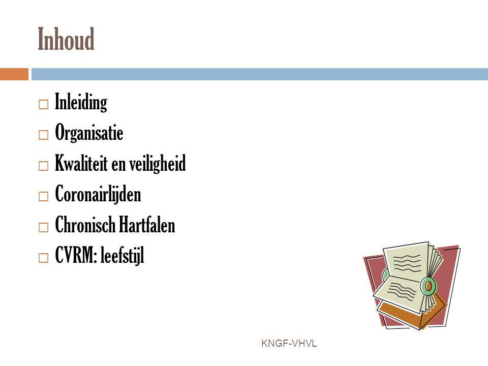 Inhoud  Inleiding  Organisatie  Kwaliteit en veiligheid  Coronairlijden  Chronisch Hartfalen  CVRM: leefstijl KNGF-VHVL