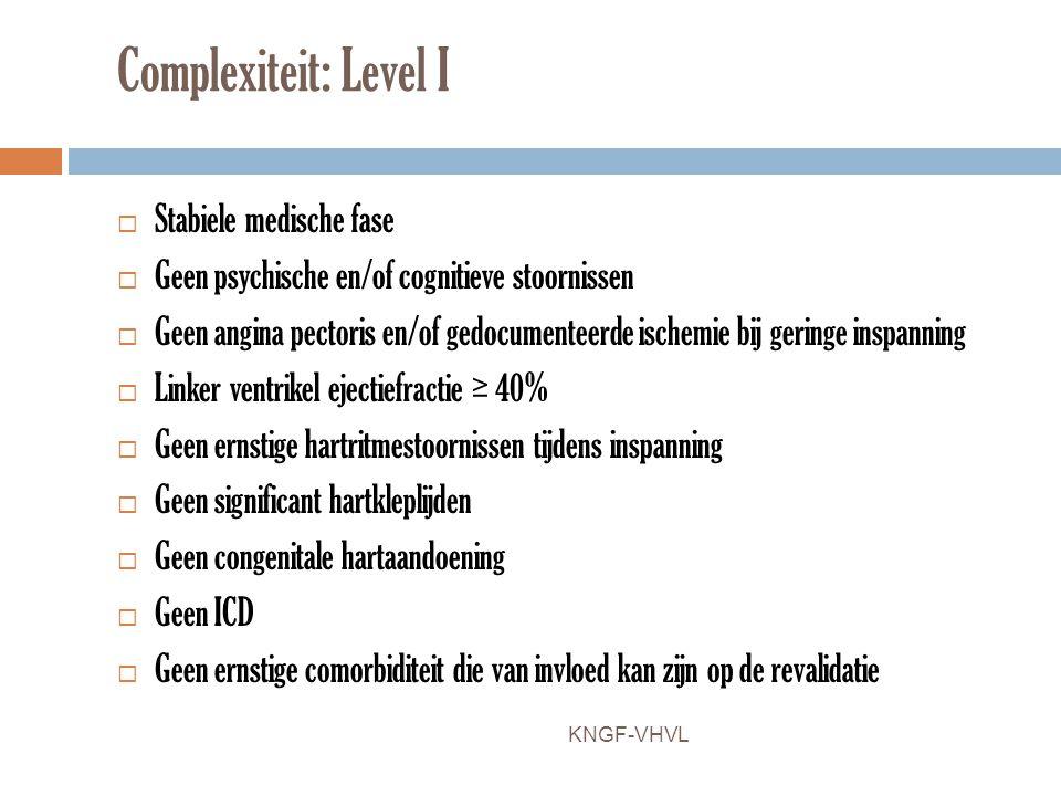 Complexiteit: Level I  Stabiele medische fase  Geen psychische en/of cognitieve stoornissen  Geen angina pectoris en/of gedocumenteerde ischemie bi