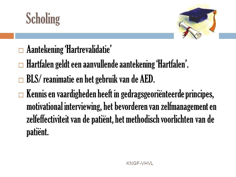 Scholing  Aantekening 'Hartrevalidatie'  Hartfalen geldt een aanvullende aantekening 'Hartfalen'.  BLS/ reanimatie en het gebruik van de AED.  Ken