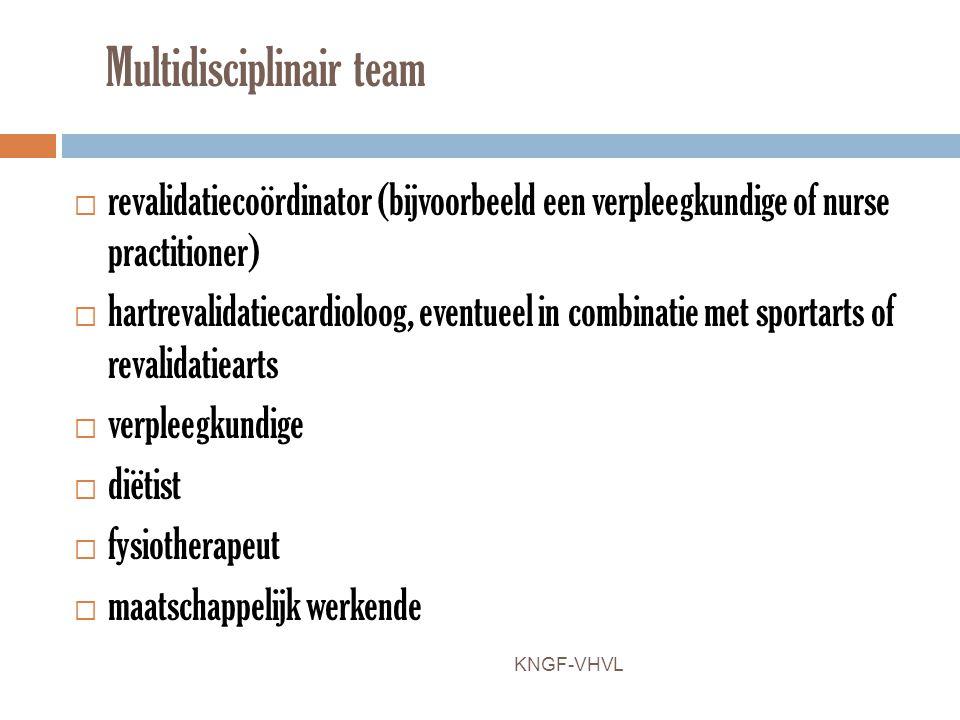 Multidisciplinair team  revalidatiecoördinator (bijvoorbeeld een verpleegkundige of nurse practitioner)  hartrevalidatiecardioloog, eventueel in com