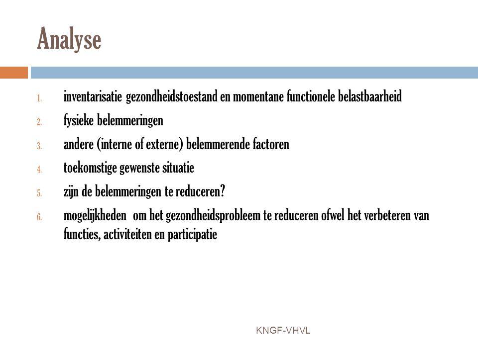 Analyse 1. inventarisatie gezondheidstoestand en momentane functionele belastbaarheid 2. fysieke belemmeringen 3. andere (interne of externe) belemmer
