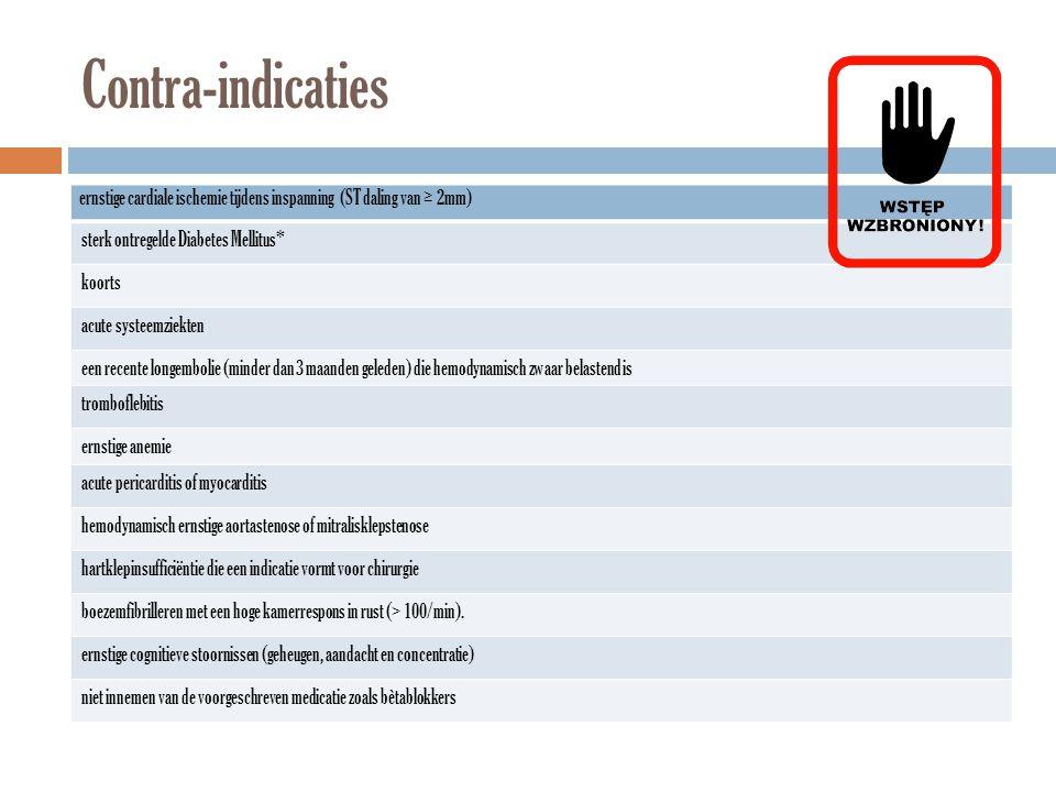 Contra-indicaties ernstige cardiale ischemie tijdens inspanning (ST daling van ≥ 2mm) sterk ontregelde Diabetes Mellitus* koorts acute systeemziekten