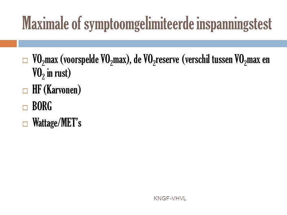 Maximale of symptoomgelimiteerde inspanningstest  VO 2 max (voorspelde VO 2 max), de VO 2 reserve (verschil tussen VO 2 max en VO 2 in rust)  HF (Ka