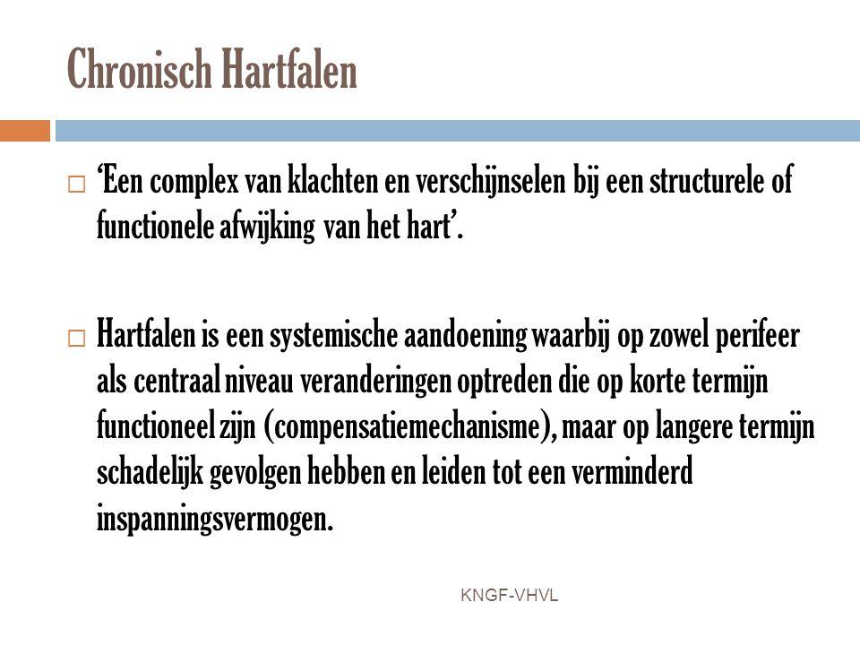 Chronisch Hartfalen  'Een complex van klachten en verschijnselen bij een structurele of functionele afwijking van het hart'.  Hartfalen is een syste