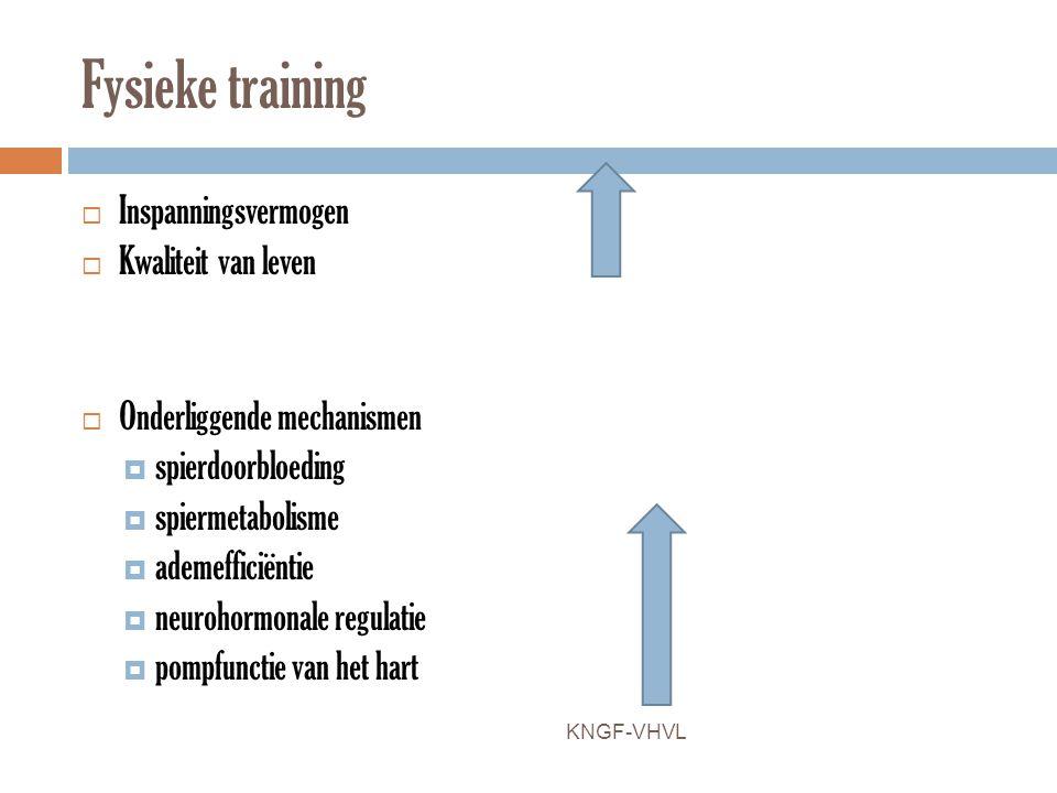 Fysieke training  Inspanningsvermogen  Kwaliteit van leven  Onderliggende mechanismen  spierdoorbloeding  spiermetabolisme  ademefficiëntie  ne