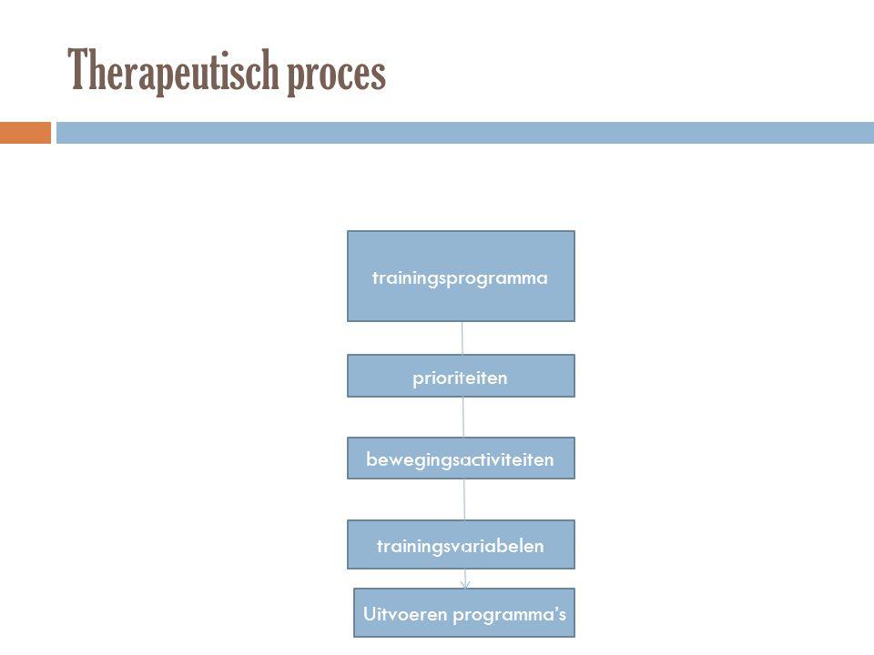 Therapeutisch proces trainingsprogramma prioriteiten bewegingsactiviteiten trainingsvariabelen Uitvoeren programma's