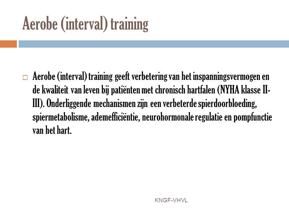 Aerobe (interval) training  Aerobe (interval) training geeft verbetering van het inspanningsvermogen en de kwaliteit van leven bij patiënten met chro