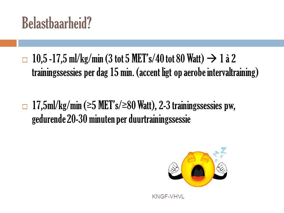 Belastbaarheid?  10,5 -17,5 ml/kg/min (3 tot 5 MET's/40 tot 80 Watt)  1 à 2 trainingssessies per dag 15 min. (accent ligt op aerobe intervaltraining
