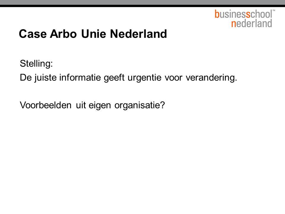 Case Arbo Unie Nederland Stelling: De juiste informatie geeft urgentie voor verandering.