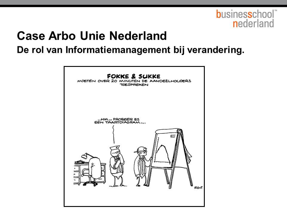 Case Arbo Unie Nederland Missie Arbo Unie stelt zich als arbodienst ten doel als expert een bijdrage te leveren aan de bevordering van de gezonde groei en continuïteit van mensen en organisaties. Kerngetallen Arbo Unie heeft 3.600 medewerkers verdeeld over 33 regio's.