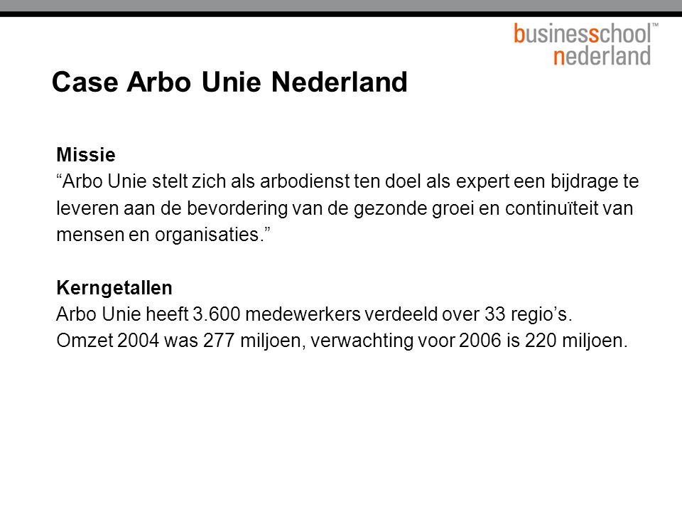 Case Arbo Unie Nederland