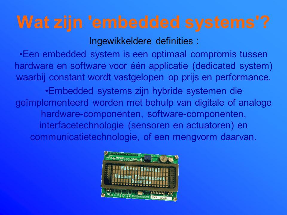 Wat zijn 'embedded systems'? Embedded systems zijn minuscule systemen (chips) die geheugen hebben, kunnen rekenen en meten, en bovendien een signaal a