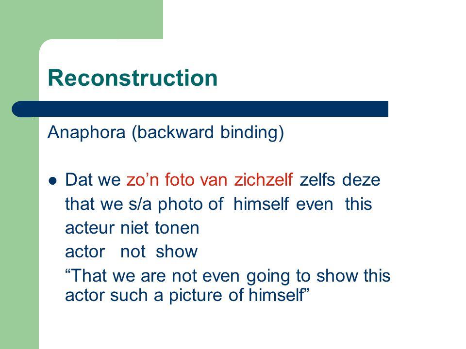 Reconstruction Anaphora (backward binding) Dat we zo'n foto van zichzelf zelfs deze that we s/a photo of himself even this acteur niet tonen actor not