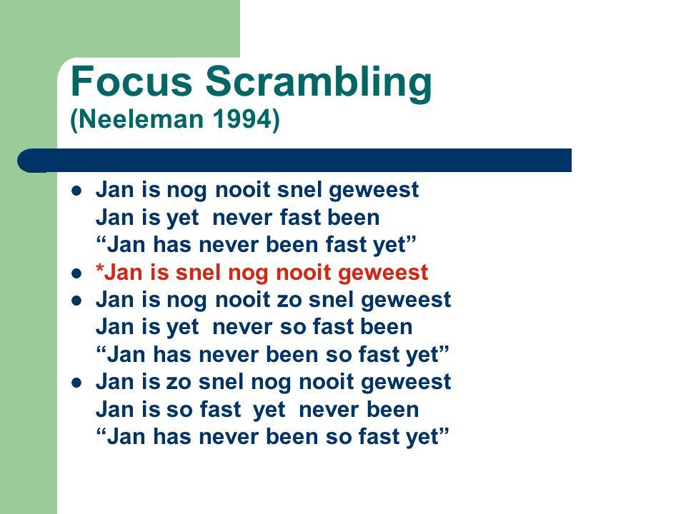 """Focus Scrambling (Neeleman 1994) Jan is nog nooit snel geweest Jan is yet never fast been """"Jan has never been fast yet"""" *Jan is snel nog nooit geweest"""